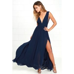 LULUS | Heavenly Hues Navy Blue Maxi Dress Size S